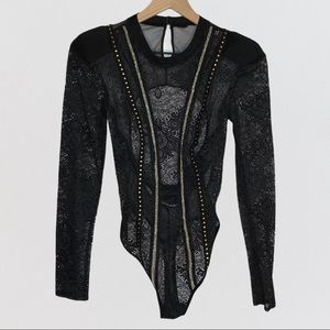 Long Sleeve Sexy Sheer Lace Bodysuit Black Small